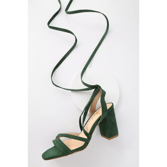 0f5f54a21ee Lulu s Shoes - Ashton Forest Green Vegan Suede Lace-Up Heels